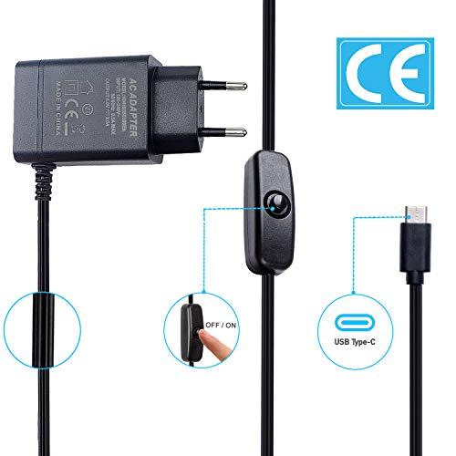 Bruphny Netzteil für Raspberry Pi 4, 5V 3A USB-C Netzteil mit EIN/Aus Schalter für Raspberry Pi 4 Modell B