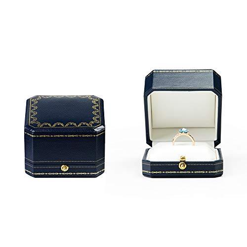 Oirlv PU Leder achteckigen Ring Schmuck Geschenkbox,Hochzeit,Vorschlag,Hochzeitstag Ring Stand Schmuckschatulle