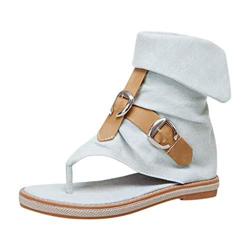 Amazing Deal Sumen Fashion Denim Mixed Color Round Toe Zipper Flats Casual Sandals Women Shoes