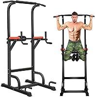 BangTong&Li 落地健身器 多功能健身器 悬垂机 承重150千克 悬垂 器具 肌肉训练 背肌 腹肌 大胸筋 悬垂杆 (黑色+红色(有背面有垫))
