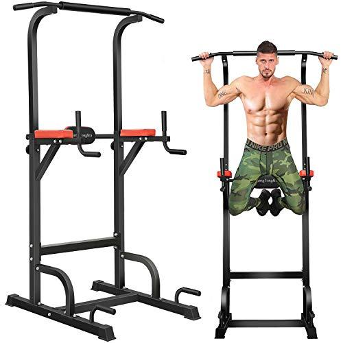 BangTong&Li ぶら下がり健康器 マルチジム 懸垂マシン 耐荷重150kg 懸垂 器具 筋肉トレーニング 背筋 腹筋 大胸筋 懸垂バー (ブラック+レッド(背面クッションあり))