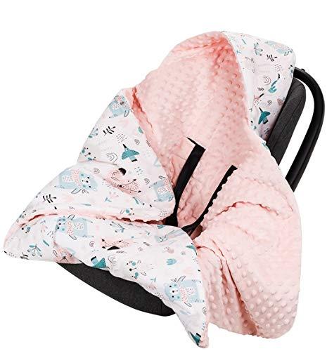 Divita Babydecke Minky 90x90 cm Decke Baby Einschlagdecke mit Kapuze für Kinderwagen Buggy Babyschale (Pfirsich/Tiere)