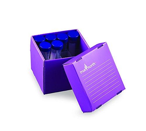 Heathrow Scientific HD120378 True North Flatpack - Caja para congelar tubos de ensayo (polipropileno, capacidad: 81 tubos, 1,5/2 ml, 10 unidades), color morado