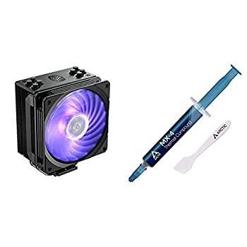 Cooler Master Hyper 212 RGB Black Edition CPU Air Cooler SF120R RGB Fan 4 CD 2.0 Heatpipes Anodized Gun-Metal Black & Arctic MX-4 - Thermal Compound Paste for Coolers   Heat Sink Paste