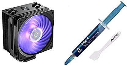Cooler Master Hyper 212 RGB Black Edition CPU Air Cooler, SF120R RGB Fan, 4 CD 2.0 Heatpipes, Anodized Gun-Metal Black & Arctic MX-4 - Thermal Compound Paste for Coolers | Heat Sink Paste