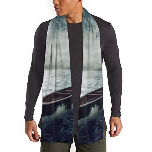 Qefgjbw Barco a la deriva en el océano medio después de la tormenta bufanda larga suave para mujer para hombre para otoño invierno moda estampado bufandas chal