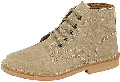 Mens Classic 5 Hole Real Suede Desert Boots Beige Black Or Brown Sizes 6 12 Roamers