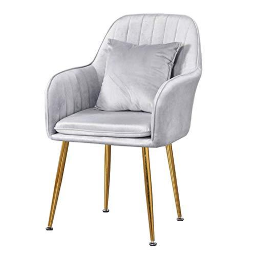 WYBW Silla de comedor para el hogar, silla de comedor de terciopelo, silla decorativa tapizada, sillón de ocio moderno, silla de sala...