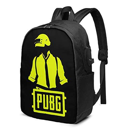 Pu-Bg Battlegrounds Gaming Backpack Computer Backpack Travel Bag for Business Trip Large Capacity 17 Inch with USB Interface