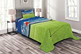 Lunarable Sports Bedspread, Golf Field with Flag in The Hole Clouds Sky Summertime Golfing Landscape, Decorative Quilted 2 Piece Coverlet Set with Pillow Sham, Twin Size, Lime Green