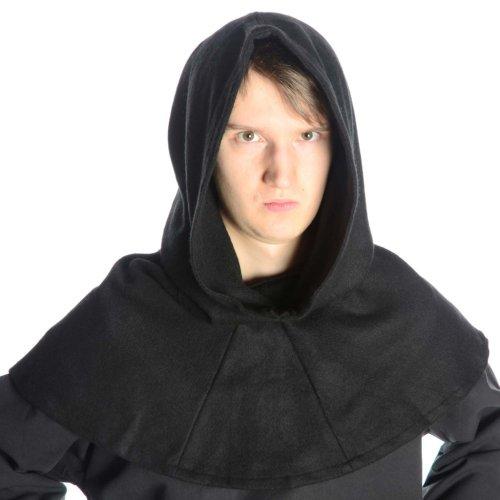 HEMAD Mittelalter Gugel Schafwollfilz - Mittelalterliche Kleidung, Schwarz, Einheitsgröße