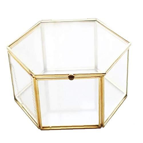 Hotaden Joyería de la Vendimia de Oro de Cristal Caja, Adornado Anillo Pendiente Caja Conservado Cristal Flor Caja Caja Decorativa