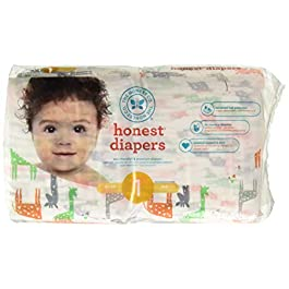 The Honest Company Baby Diapers, Multi Colored Giraffes, Size 6, 88 Count