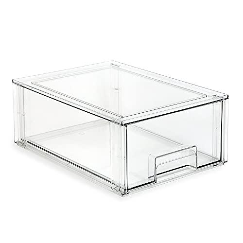 Isaac Jacobs - Cajón organizador apilable grande (34,3 x 25,1 x 13,7 cm), caja de almacenamiento de plástico transparente, contenedor...