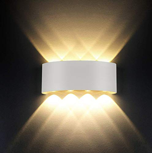 Wandleuchten Moderne IP65 Wasserdicht 8W LED Wandleuchte Innen Aluminium Wandbeleuchtung Oben Unten Dekorative Wandlampe für Wohnzimmer Schlafzimmer Halle Treppe Pathway (Warmes weißes Licht)