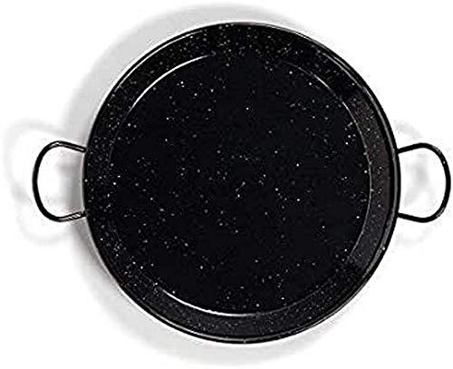 La Valenciana Pfanne 10 cm, emaillierter Edelstahl, Paella-Pfanne, Schwarz 65 cm schwarz