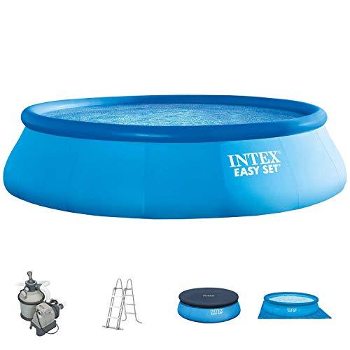 Intex 366x91 cm Easy Pool 289142 Komplettset incl. Sandfilteranlage, Sicherheitsleiter, A- und Uplane