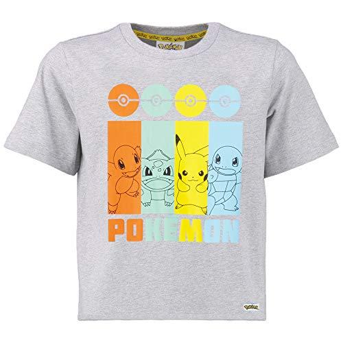 Pokemon Pikachu Shirt, Tshirt Jungen Mit Glumanda, Schiggy, Bisasam, Pikachu, Baumwolles Teenager T Shirt Für Jungen, Merchandise, Geschenke für Kinder (13/14 Jahren)