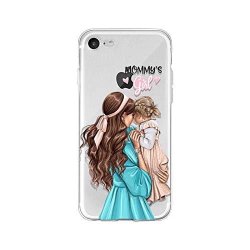 Estuche para teléfono móvil de madre e hijo a la moda y lindo para iPhone12 / 11 Pro Max/XS MAX / 6/7 / 8p borde recto ultrafino, protección de pantalla, silicona suave anticaída y amortiguadora