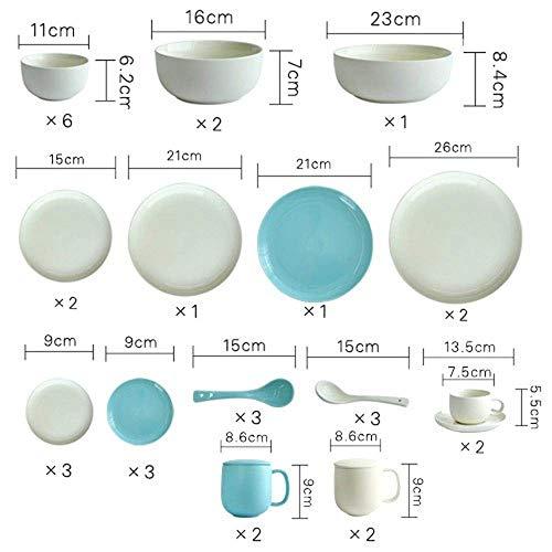 WEHOLY Dîner 11 pièces Ensembles de Couverts en céramique Ensemble de Vaisselle de décoration en Porcelaine de Style Occidental créatif Bleu (pc comme l'image)