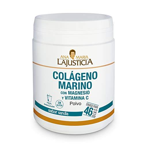 Ana Maria Lajusticia - Colágeno marino con magnesio y VIT C 350 g (sabor sandía) - Articulaciones fuertes y piel tersa. Regenerador de tejidos con colágeno hidrolizado tipo 1 y 2. Envase para 46 días