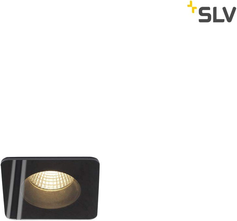SLV LED Deckeneinbauleuchte Patta-F, eckig, 12 W, Cob, 38 Grad, 3000 K, IP65, in Klusiv Treiber, schwarz, 114450