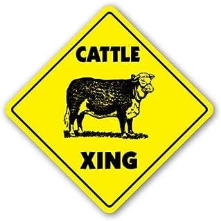 Boskap Crossing Xing Steer ko mejeri mjölk gård hö fält 20 x 30 cm järn retrolook 20 x 30 cm dekoration plakett skylt för ...