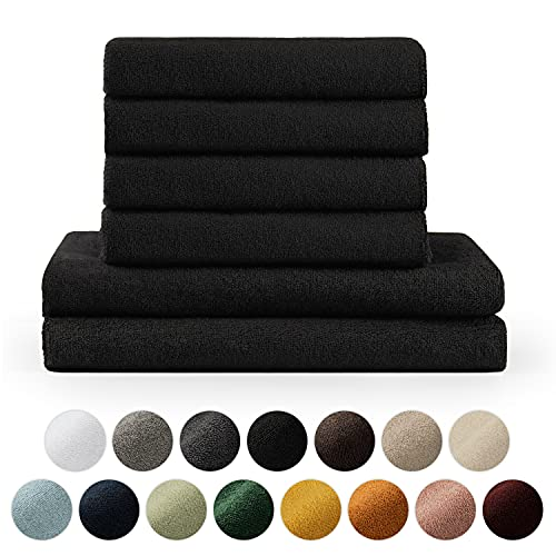 Blumtal Handtücher Set 2 Badetücher 70x140 + 4 Handtücher 50x100 - weich und saugstark, 100% Baumwolle, Oeko-Tex 100 Zertifiziert, Schwarz