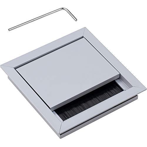 Gedotec Kabeldurchführung silber Schreibtisch ECO eckig mit Bürstendichtung | Kabeldurchlass Aluminium silber | Kabeldose 100 x 100 mm zum Eindrücken | 1 Stück - Tisch-Kabelausgang zum Einlassen