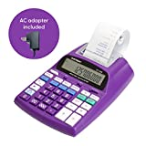 Catiga 12-Digit Desktop Printing Calculator with Tax Functions, Two Color,2.03 Lines/sec, with AC Adapter, CP-1800 for Home/Office, Comes with AC Guaranteed (Purple, with AC)