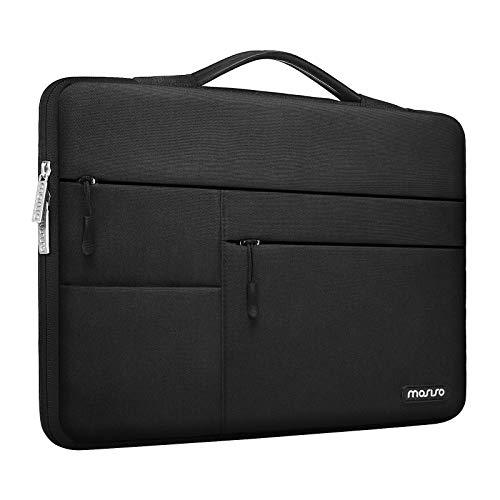 MOSISO 360 Laptop Schutzhülle Kompatibel mit MacBook Pro/Air 13 Zoll, 13-13,3 Zoll Notebook Computer,Polyester Aktentasche mit Trolley Gürtel & 3 Vorne Horizontalen Parallel Tasche, Schwarz
