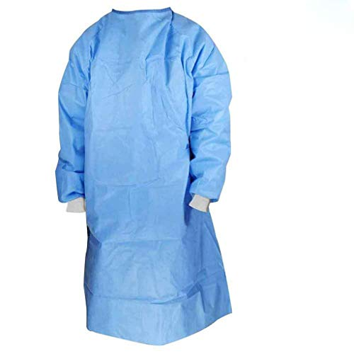 FNKDOR Unisex Schutzanzug Mehrweg Schutzkleidung Isolationskittel Non-Woven Medizin OP-Kittel Staubdicht Antibeschlag Wasserdicht Blau XL