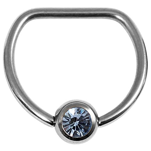 Titan Jeweled D Ring 1,6mm, 16mm Interner Durchmesser. Spiegel polnischen mit Licht Saphir Gem. Geeignet In Nippel Piercings.