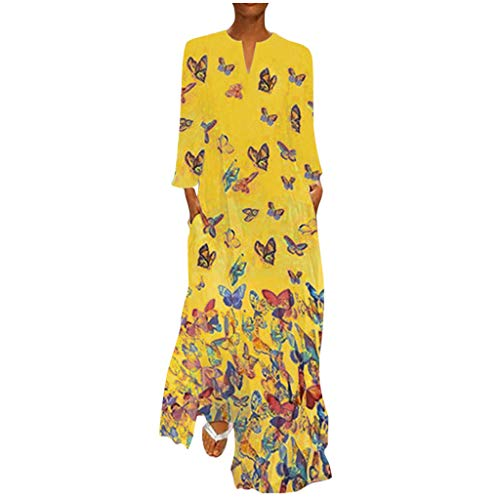 DQANIU Frauen Kleid, Frauen Frühling/Herbst Plus Size Vintage Böhmen Welle Punkt Print Kleid Langarm Oansatz Maxi Party Kleid