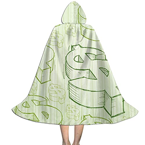 Doodles Dollar Sign Kids Hooded Cloak Cape For Halloween Party Role Play Cosplay Costume For Kids Boys Girls