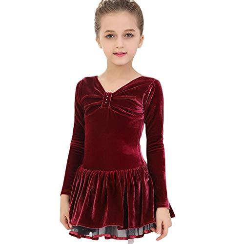 AUED Otoño e Invierno Ropa de práctica de Baile de Manga Larga para niños Falda de Baile de Terciopelo Vestido de Leotardo Ballet Ropa de Baile Latino Vestido de Patinaje de competición,Redwine,3