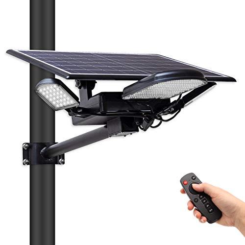 MJIYA 100W LED Solar Street Light, Outdoor Wireless Waterproof Solar Flood Lights, 3 Leaf Solar Lamp with Remote Control, Dusk to Dawn Security Light for Yard, Garden, Street