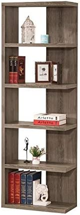 Allora Weathered Semi-Backless Bookcase in Dark Grey Max 55% OFF Topics on TV