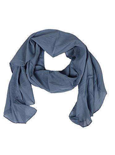 Cashmere Dreams Seiden-Tuch im Uni Design - Hochwertiger Schal für Damen Mädchen - Halstuch - Umschlagstuch - Loop - weicher Schlauchschal für Sommer Herbst und Winter Zwillingsherz, Blau/grau