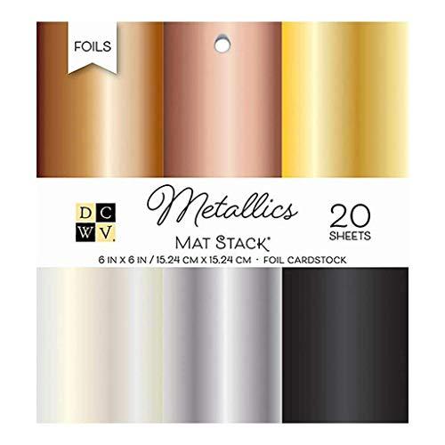 DCWV Cardstock 15,2 x 15,2 cm, Metallfolie massiv, 6 Farben