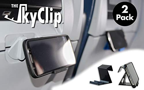 The SkyClip - (Black, 2 Pack) Airplane Cell Phone Seat Back Tray Table Clip and Sturdy Phone Stand, Compatible with iPhone, Android, Tablets, and Readers
