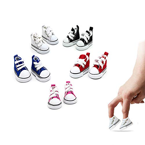 Mimeela 5 Pack Mini Finger Shoes, Cool Mini Skateboard Shoes for Finger Breakdance, Fingerboard, Doll Shoes, Used As Making Shoe Keychains and Sneakers for Birds (5 Colors)