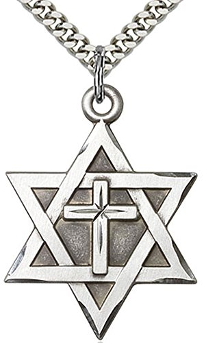 Heartland Store Mens Sterling Silver Star of David & Cross + 24 Inch Rhodium Plated Chain & Clasp