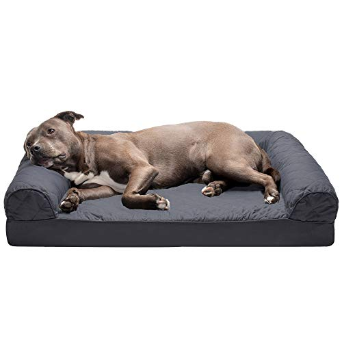 Furhaven Pet Dog Bed - Orthopedic Quilted Traditional Sofa-Style Living Room Couch Pet Bed with Removable Cover for Dogs and Cats, Iron Gray, Large
