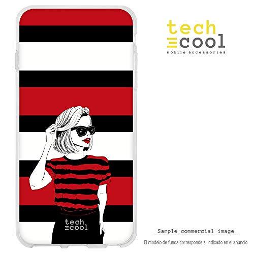 Funnytech® siliconen hoes voor BQ Aquaris U Plus [flexibele siliconengel, exclusief design] dames mode T-shirt rood en zwart