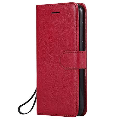 Hülle für Huawei Y5 2018/Honor 7S Hülle Handyhülle [Standfunktion] [Kartenfach] Tasche Flip Hülle Cover Etui Schutzhülle lederhülle flip case für Huawei Y5 2018 - DEKT050957 Rot