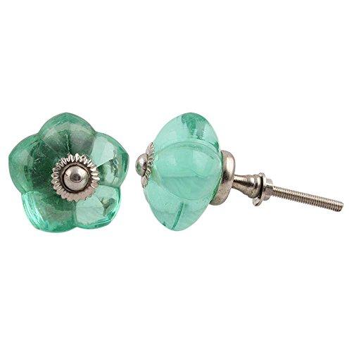 IndianShelf - 8 pomos de cajón de cristal verde contemporáneos hechos a mano para niñas aparador Boho tiradores de puerta de armario