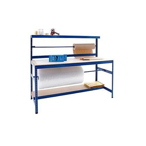 Verpackungsstation | Packtisch | Tragkraft 300 kg | HxBxT 1500 x 1800 x 750 mm | Unkomplizierte Steckmontage | Werktisch Arbeitstisch Mehrzwecktisch