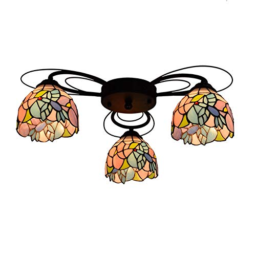 Lámpara de techo con diseño de Tiffany Tiffany con 3 cabezas de Hummingbird