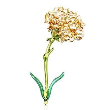 LLYANZ Alloy Big Enamel Yellow Pink Blue Carnation Flower Brooches for Women  Yellow